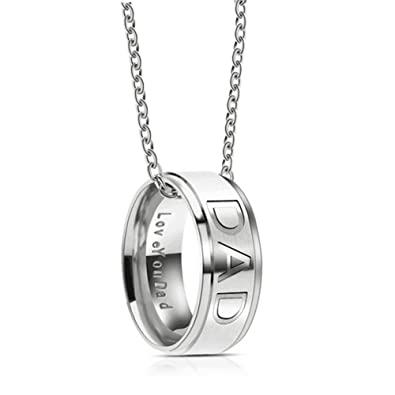 1e44cd539 Amazon.com: Silove Love You Dad Stainless Steel Necklace for Men Dad  Birthday Gifts Jewelry (Silver): Sports & Outdoors