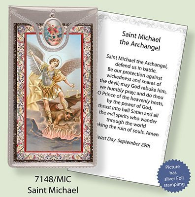 Rosarybeads4u St Saint Michael Silver Foil Etched Verse Prayer Card & Medal Pendant