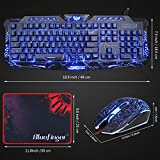 BlueFinger LED Gaming Keyboard Mouse Headset