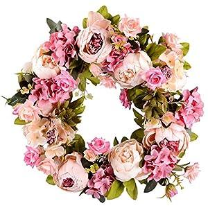"missblue Handmade Artificial Rose Flower Wreath,Door Backdrops Ornaments Rose Floral Twig Wreath Artificial Flowers Garland 14"" Pink Flower Wreath for Front Door, Wall, Wedding, Home Decor 7"