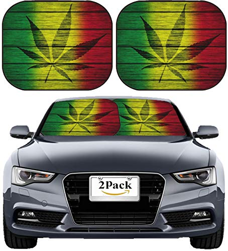 MSD Car Sun Shade Windshield Sunshade Universal Fit 2 Pack, Block Sun Glare, UV and Heat, Protect Car Interior, Image ID: 27242616 Background Texture Wood Rasta Flag with Leaf Silhouette
