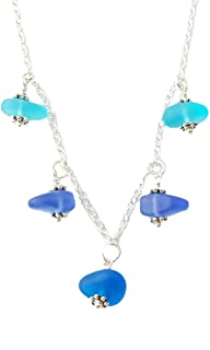 """product image for Three Colors of the Hawaiian Ocean"""" sea glass matching necklace, freshwater pearl, (Hawaii Gift Wrapped, Customizable Gift Message)"""