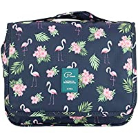 Travel Toiletry Bag Hanging Hook for Men and Women Cosmetic Bag Oganizer with Handle Make up Organizer Water Resistant Shower Bag Cute Design Large Capacity (Flamingo-s)
