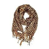 Paskmlna® Animal Print Fringed Shoulder Pashmina Wrap Scarf - Leopard Zebra Patterns (Brown Leopard)