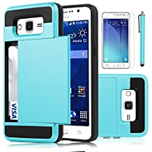 Galaxy Grand Prime Case, EC™ [Shockproof][Drop Protection] Hybrid Dual Layer Slim Wallet Case with Card Slot Holder Hard Shell Cover for Samsung Galaxy Grand Prime G530 (Light Blue)