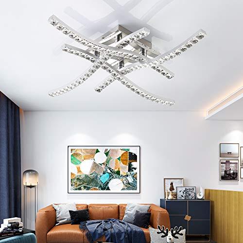 Kristallen led-plafondlamp, kroonluchter lamp modern kristal design plafondlamp, warmwit 3.000 K, 24 W, 4 x 380 lm, voor…