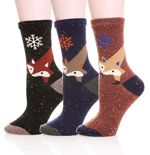 (EBMORE® Women's Animal Pattern Warm Socks For Winter (Fox Snowflake-One Size))