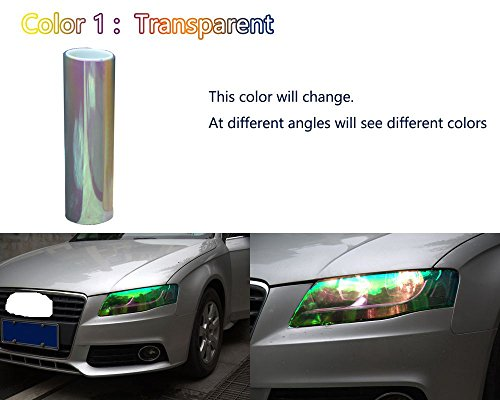 Amber 12x24 in 1x2 Ft Optix Chameleon Neo Chrome Headlight Fog Light Taillight Vinyl Tint Film