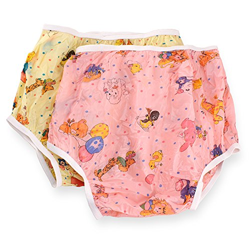 Rearz - Nursery Print Plastic Pant - High Waist (Yellow, Large)