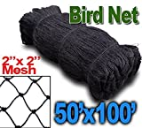 BaikaloTZ 25' X 50'/50' X 50' Garden Net Netting for Bird Poultry Aviary Game Pens w/2''x 2'' Mesh (50' X 100')