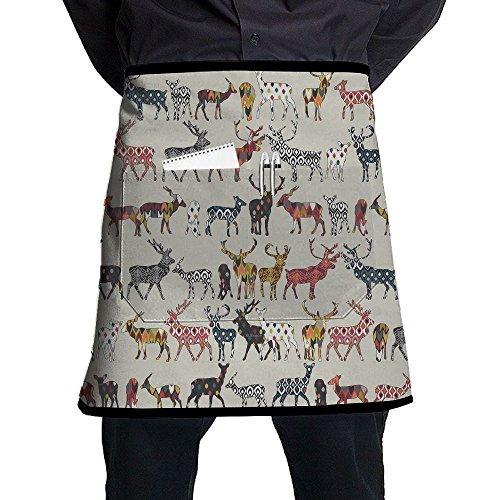 Kjiurhfyheuij Half Short Aprons Deer Group Waist Apron With Pockets Kitchen Restaurant For Women Men Server -