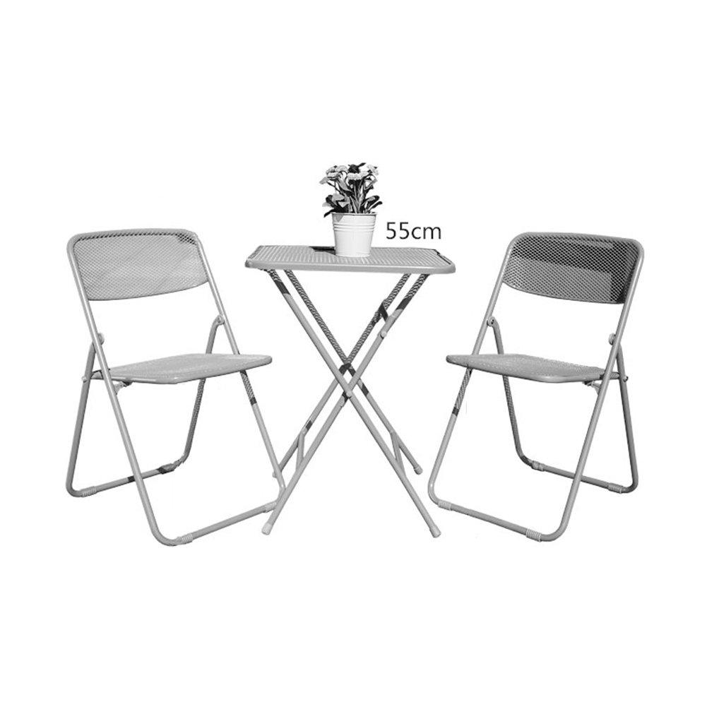 XXHDYR Stahlnetz Dreiteilige Mode Klapptische Und Stühle Schmiedeeisen Farbe Gartenmöbel Einfache Freizeit-Kombination Klapptisch (Farbe : A, größe : One Table+Two stools)
