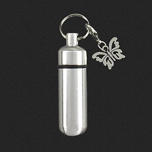 Keepsake Cremation Butterfly Key Chain Ships from USA Memorial Vial Urn Funeral Ashes Holder with Butterfly Charm Bonus Memorial Photo Key Chain and Software