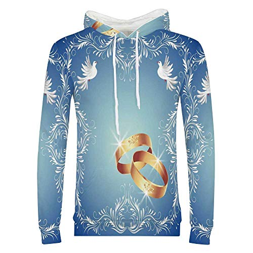Wedding Decorations Stylish Hoodie,Ornament Frame and Two Flying Doves Heart Shapes Wedding Rings Sweaters for Men & Boys,Small