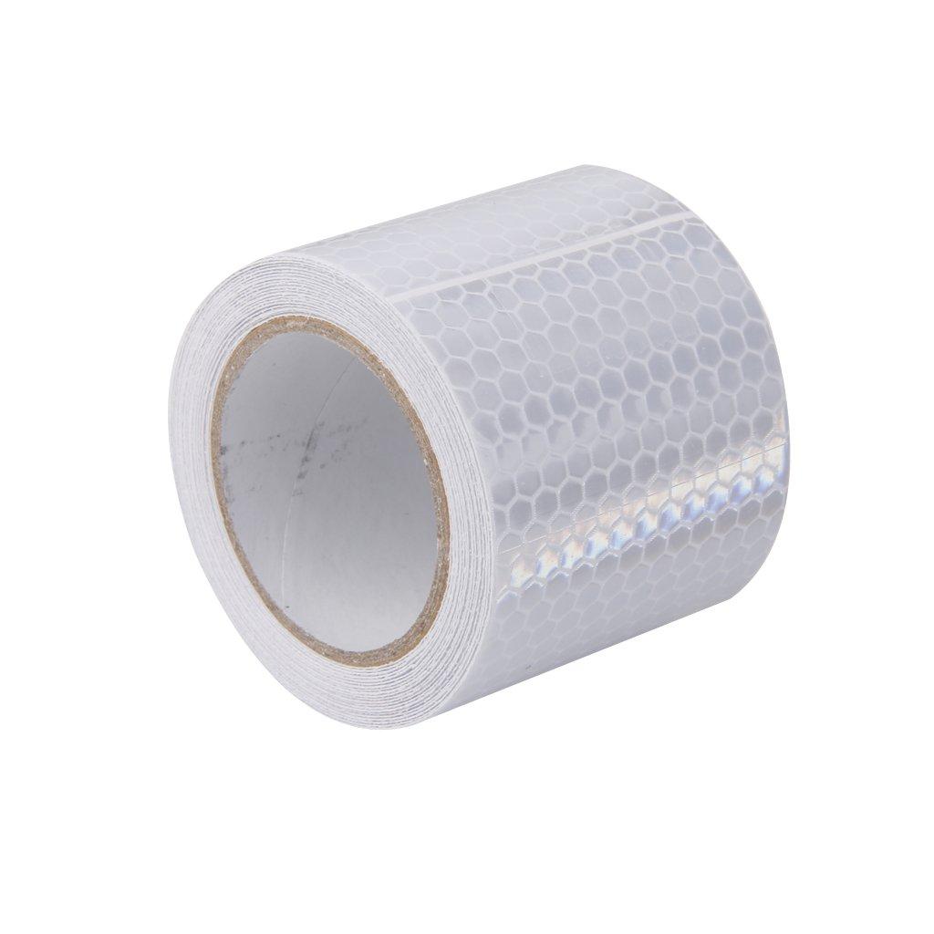 Waymeduo Haute Intensit/é Autocollant Ruban R/éfl/échissant Vinyle Auto-adh/ésif 5cm x 3m Blanc