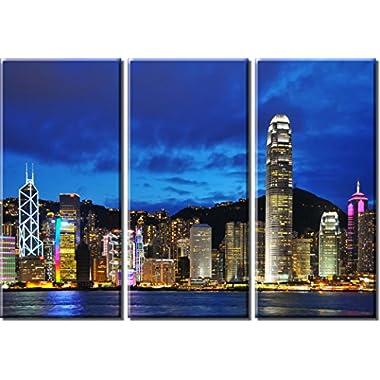 Picture Sensations Framed Huge 3-Panel City Skyline Hong Kong Giclee Canvas Print
