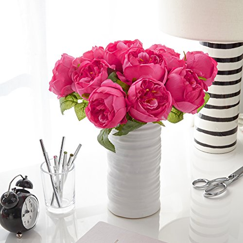 Butterfly Craze Artificial Peony Silk Flower Bouquet for Wedding Floral Arrangements and Home Decoration - Fushia Red Color, 10 Stem Per Set ()