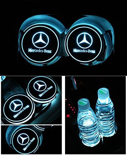 JSAMZ Car Logo LED Cup Pad led Cup Coaster USB Charging Mat Luminescent Cup Pad LED Mat Interior Atmosphere Lamp Decoration Light (Benz)