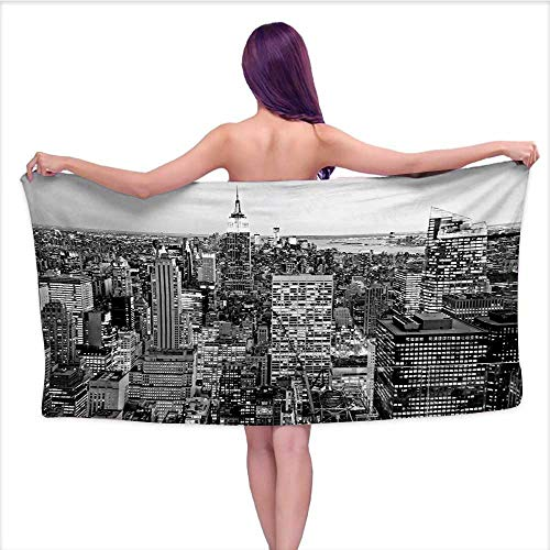 Bensonsve Bath Towels Egyptian Cotton New York,Panorama of Manhattan High Buildings of City Famous Monument USA Black and White Photo,Grey,W12 xL35 for Baby Girl