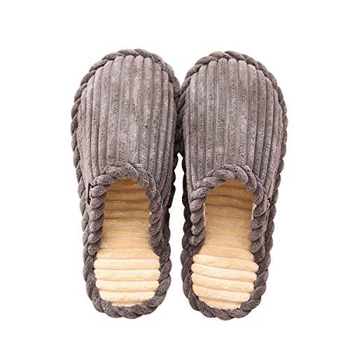 Slduv7 Pantoufles De Maison En Peluche Dhiver (2017 Nouveau) Chaudes Chaussures Dintérieur Confortables Pour Les Femmes, Hommes, Filles, Couples Gris
