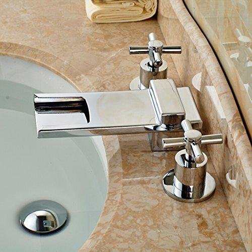 U-Enjoy Deck Mount Waterfall Top Quality Long Spout Bathroom Sink Faucet Dual Cross Handles Mixer Taps Chrome Finish (Free Shipping)