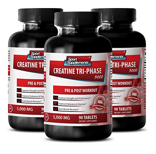 Muscle gain - CREATINE TRI-PHASE 5000 - PRE & POST WORKOUT - creatine recharge - 3 Bottles (270 Tablets)
