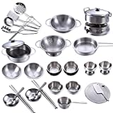 32Pcs/Set Stainless Steel Kitchen Cookware Baby Birthday Present Miniature Play Toy Cooking Playset