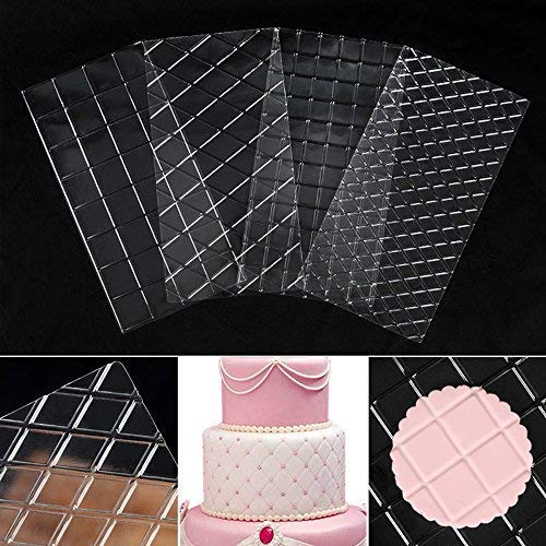 DGQ Cake Decorating Tools 4-Piece Quilted Fondant Imprint Mat Set, Clear ()