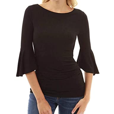 78fd61b00219d0 Misaky Women s Autumn O-Neck Elbow Bell Sleeve Sweatshirt Pullover Ladies  Basic Tops T-