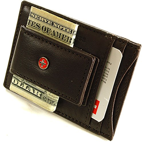 01. Alpine Swiss Mens Wallet Leather Money Clip Thin Slim Front Pocket Wallet