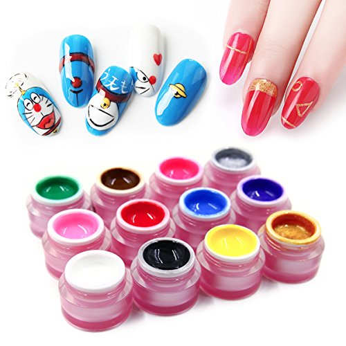 12 Colors Nail Painting Gel Polish, Saviland Soak Off UV LED Sculpture Gel DIY Varnish Manicure Nail Art Decoration 8g