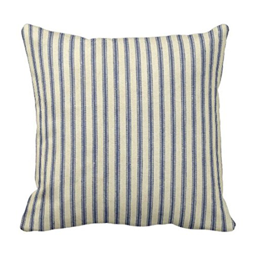 wonbye Throw Pillow Cover Cotton Linen Retro Ticking Blue White Striped Vintage French Decorative Pillow Case Home Decor Square 18x 18 Inch Cushion ()