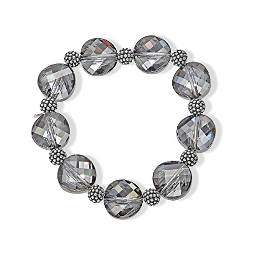 Aya Azrielant Swarovski Crystals Bead Stretch Bracelet in Oxidized Sterling Silver by Aya Azrielant