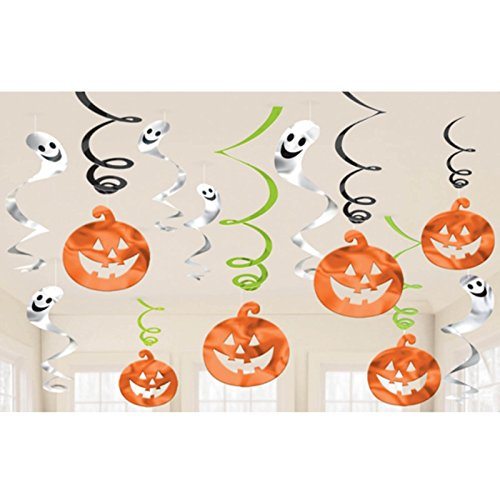 [Halloween Hanging Pumpkins and Ghosts Foil Swirls Value Pack- Family Friendly- 12 Pack] (Hanging Halloween Props)