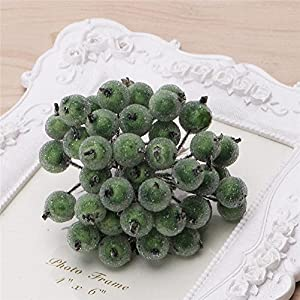 LIYUDL 40pcs Artificial Mini Frosted Fruit Berry Holly Flower Christmas Decor 16 Colors(Dark Green) 82