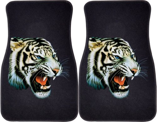 White Tiger (Black) Car and Truck Front Mats - Set of 2