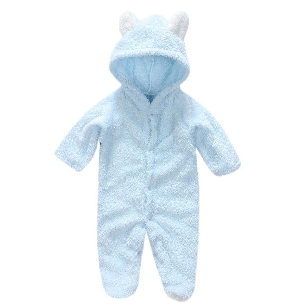 wuayi Newborn Baby Boys Girls Long Sleeves Warm Fleece Cartoon Hooded Romper Jumpsuit