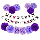 BESTOYARD 13 Pcs Tissue Paper Flowers Pom Poms DIY Paper Garland Banner Kit for Engagement Wedding Birthday Party Decoration (Purple)