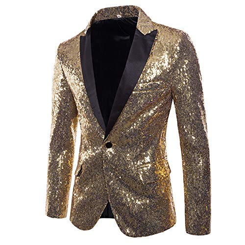 MAGE MALE Mens Tails Slim Fit Tailcoat Sequin Dress Coat Swallowtail Dinner Party Wedding Blazer Suit Jacket Gold -