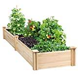 Yaheetech Raised Garden Bed Kit - Wooden Elevated Planter Garden Box for Vegetable/Flower/Herb Outdoor Solid Wood 96.7 x 24.6 x 10.6inch(LxWxH)