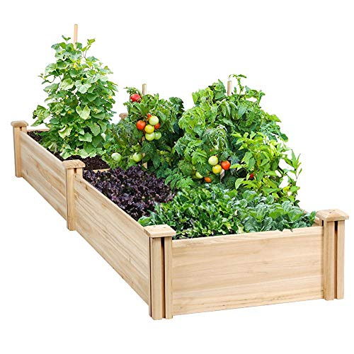 Yaheetech Raised Garden Bed Kit – Wooden Elevated Planter Garden Box for Vegetable/Flower/Herb Outdoor Solid Wood 96.7 x 24.6 x 10.6inch(LxWxH)