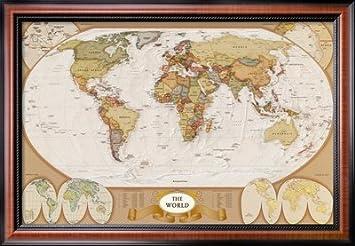 World Pster con diseo de cuadro de mapamundi antiguo 39 x 27
