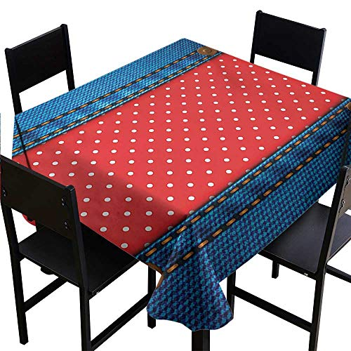 Glifporia Medallion Tablecloth Polka Dots,Jeans Pockets Frame Print with Little Polka Dots Traditional European Art Design,Blue Red 70