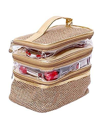 Kuber Industries™ Make Up Kit, Vanity Kit, Cosmetic Kit, Jewellery Kit (Jute Design)