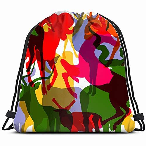 deer moose mountain sheep horned animals wildlife 3D Print Drawstring Backpack Rucksack Shoulder Bags Gym Bag 17X14 Inch