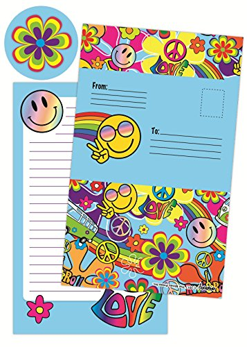 iscream Summer of Love Pack of 8 Fold-Over Cards with Flip Sticker Seals