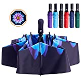 Fidus Inverted Reverse Sun&Rain Car Umbrella Large Windproof Travel UV Umbrella for Women Men - Auto Open Close(Colored Glaze-1)