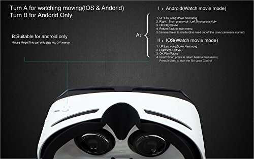 Crelander Virtual Reality Headset Bluetooth Built-in Eye Protected HD Adiustable Headset 3D Zoom Glasses with Adjustable Lenses & Head Strap for IMAX Movie Game Andriod/IOS Cellphone (Work with Siri) by Crelander (Image #4)