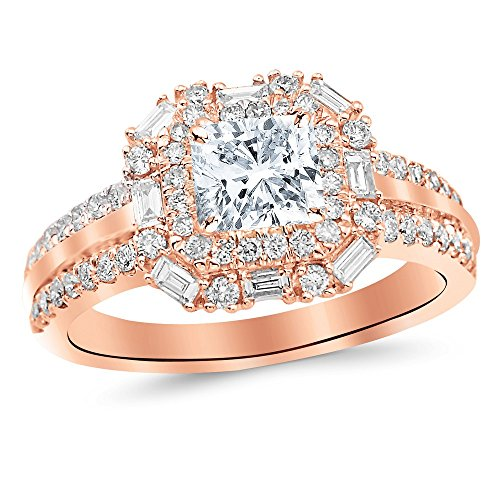 Baguette Band Brilliant Round Diamond (14K Rose Gold 1.66 CTW Double Row Baguette and Round Halo Diamond Engagement Ring w/ 0.96 Ct GIA Certified Cushion Cut J Color VS1 Clarity Center)