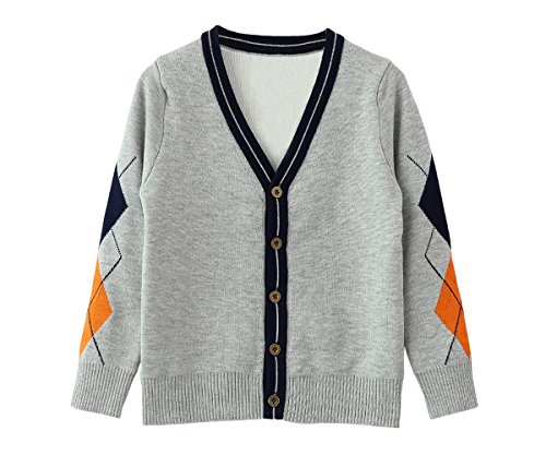4 Button Cardigan (SMILING PINKER Little Boys Sweaters Argyle Double Layer Anti-Pill V-Neck Knitted Button Cardigan(4-5,Grey and Orange))